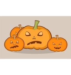 Halloween with pumpkins scary face vector