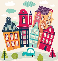 Houses and road vector
