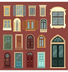 Set of european vintage doors and windows vector
