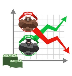 Rise and fall of quotations of dollar Bets on vector image