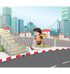 A girl running at the street near the stairs vector image