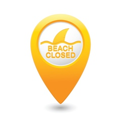 beach closed sharks symbol yellow map pointer vector image