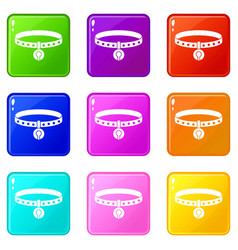 Cat collar icons 9 set vector