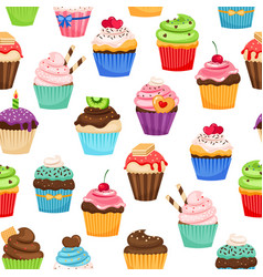 chocolate cupcakes seamless pattern vector image