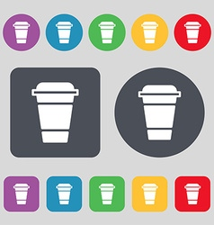 Coffee icon sign a set of 12 colored buttons flat vector