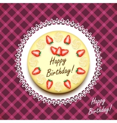 Cream birthday cake decorated with strawberries vector