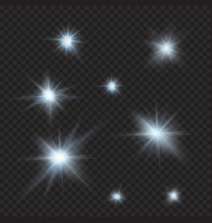 Flares sparkles rays beams cold light effects vector
