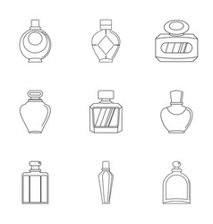 Glamour perfume bottle icon set outline style vector