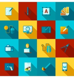 Graphic Design Flat Icons Set vector image vector image