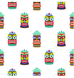 Hawaiian tiki mask seamless bright on white vector