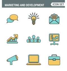 Icons line set premium quality digital marketing vector