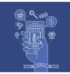 outline e-commerce icons and smart phone in hand vector image vector image