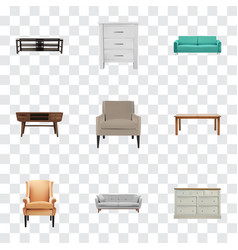 realistic cupboard furniture settee and other vector image