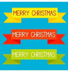 Set of colorful ribbons Merry Christmas card vector image vector image