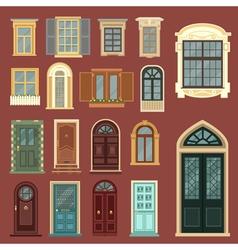 Set of european vintage doors and windows vector