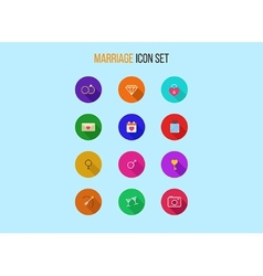 Set of outline marriage icons vector image vector image
