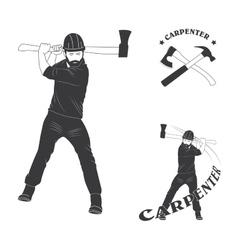 Set of stylish logo for carpenters vector