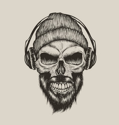 skull listening a music in headphones vector image