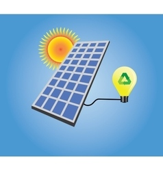 solar panel isolated with sun and light bulb vector image vector image
