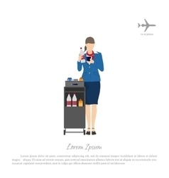 Stewardess with a trolley for food and beverages vector