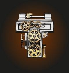 T letter with gears vector