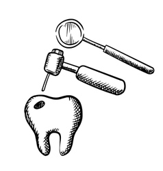 Tooth with decay dental drill and mirror vector image