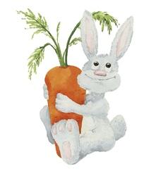 Watercolor cartoon rabbit vector