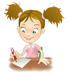 Young girl writing at her desk vector