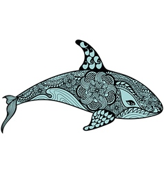 Zentangle stylized Blue Sea Shark Hand Drawn vector image