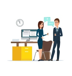 Girl and man businessmen talking office job vector