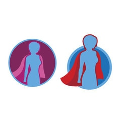 Female superhero icon - silhouette vector