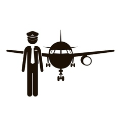 black silhouette pilot with aeroplane vector image