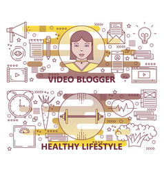 Set of thin line video blogger healthy vector