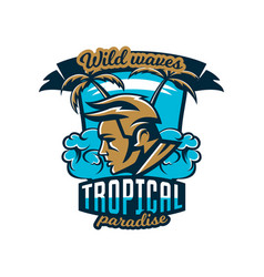Colorful logo emblem surfer on a background of vector