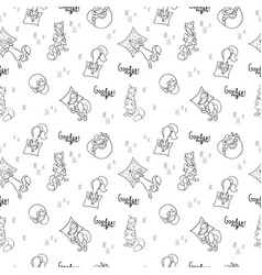 Seamless pattern with sleeping foxes with pillows vector