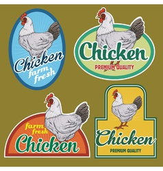 Chicken vintage labels set vector