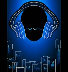 Music city in blue mood vector
