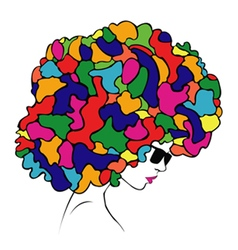 Abstract colorful hair - vector
