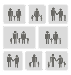 Monochrome icons with family members vector