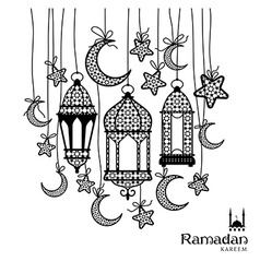 Ramadan kareem celebration greeting card vector