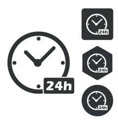 24 hours icon set monochrome vector