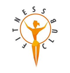 Logo girl with a hoop for fitness club vector