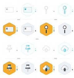 Design card magnifying glass pins cloud icons vector