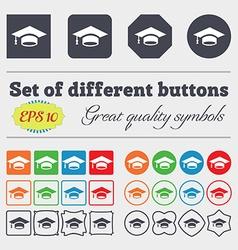 Graduation icon sign big set of colorful diverse vector