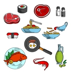 Dinner and lunch food elements vector