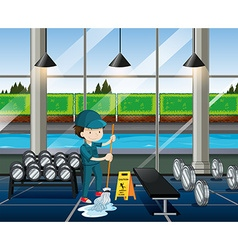 Janitor cleaning the fitness room vector image