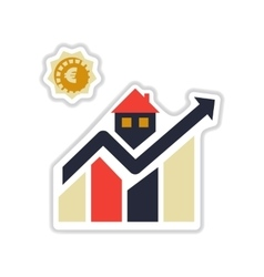 Paper sticker on white background real estate vector