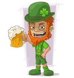 Cartoon redhead bavarian leprechaun vector image