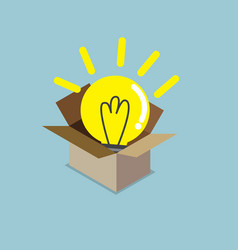 Abstract light bulb idea in box vector