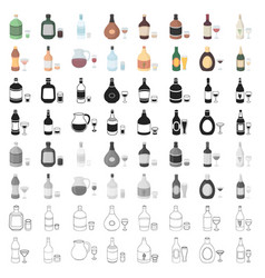 Alcohol set icons in cartoon style big collection vector